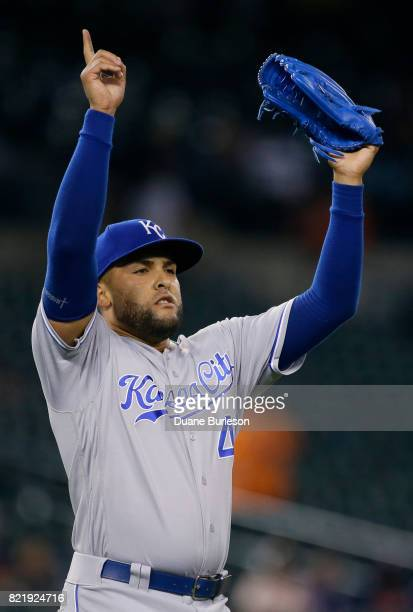 Kelvin Herrera of the Kansas City Royals celebrates after recording his 20th save in a 53 win over the Detroit Tigers in 12 innings at Comerica Park...