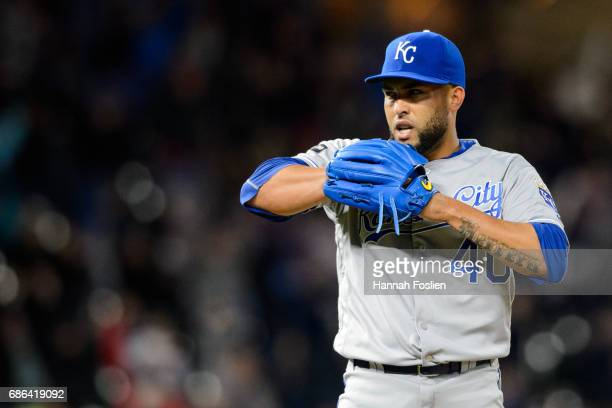 Kelvin Herrera of the Kansas City Royals looks on against the Minnesota Twins during the game on May 19 2017 at Target Field in Minneapolis Minnesota...