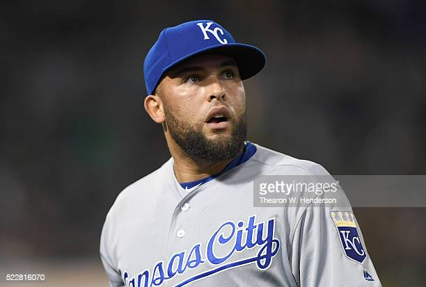 Kelvin Herrera of the Kansas City Royals looks on as he walks off the field at the end of the seventh inning against the Oakland Athletics at Oco...
