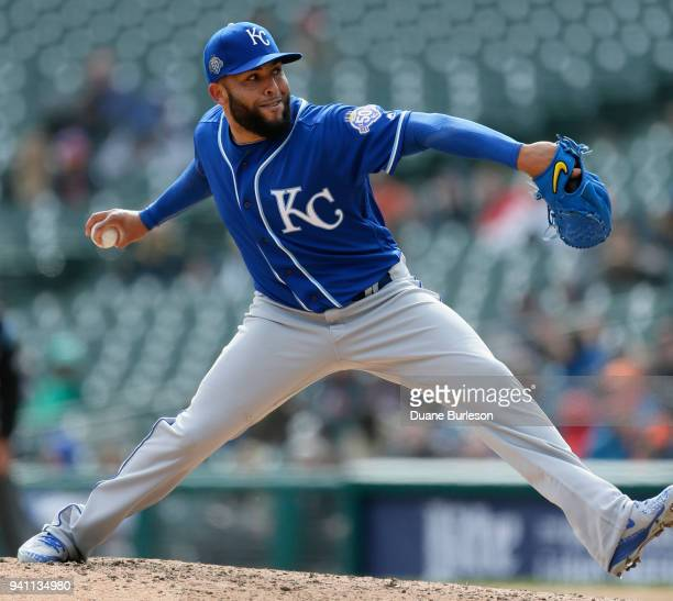 Kelvin Herrera of the Kansas City Royals pitches against the Detroit Tigers during the eighth inning at Comerica Park on April 2 2018 in Detroit...