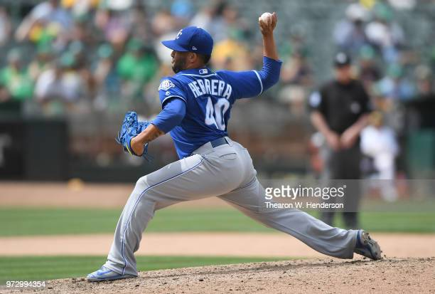 Kelvin Herrera of the Kansas City Royals pitches against the Oakland Athletics in the bottom of the ninth inning at the Oakland Alameda Coliseum on...