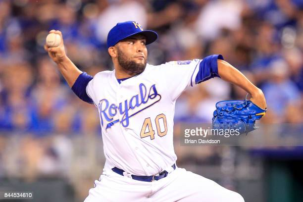 Kelvin Herrera of the Kansas City Royals pitches against the Minnesota Twins during the game at Kauffman Stadium on September 8 2017 in Kansas City...