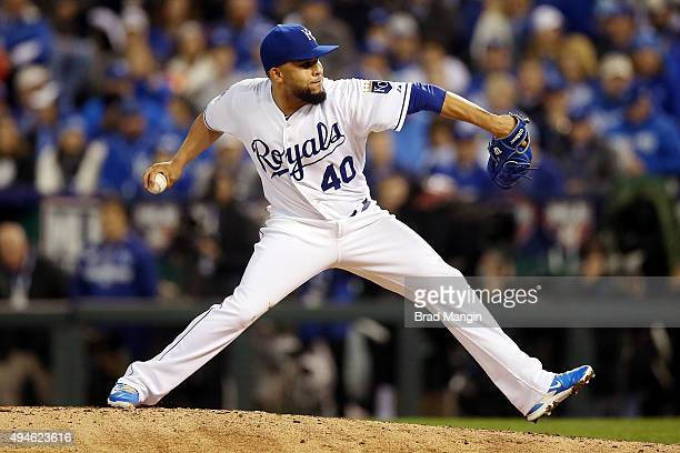 Kelvin Herrera of the Kansas City Royals pitches during Game 1 of the 2015 World Series against the New York Mets at Kauffman Stadium on Tuesday...