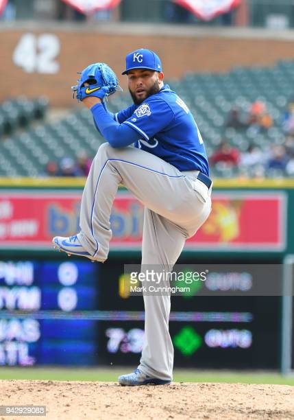 Kelvin Herrera of the Kansas City Royals pitches during the game against the Detroit Tigers at Comerica Park on April 2 2018 in Detroit Michigan The...