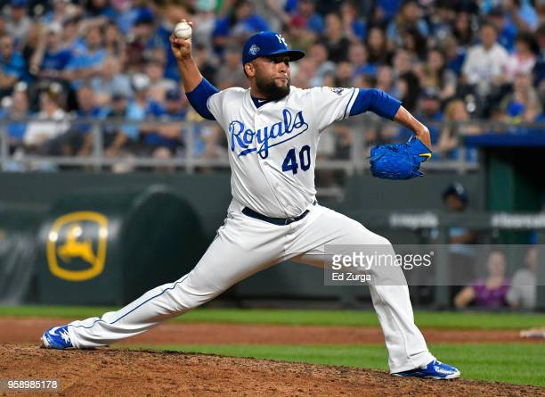 Kelvin Herrera of the Kansas City Royals pitches in the ninth inning against the Tampa Bay Rays at Kauffman Stadium on May 15 2018 in Kansas City...