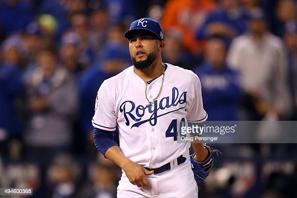Kelvin Herrera of the Kansas City Royals reacts in the eighth inning against the New York Mets during Game One of the 2015 World Series at Kauffman...