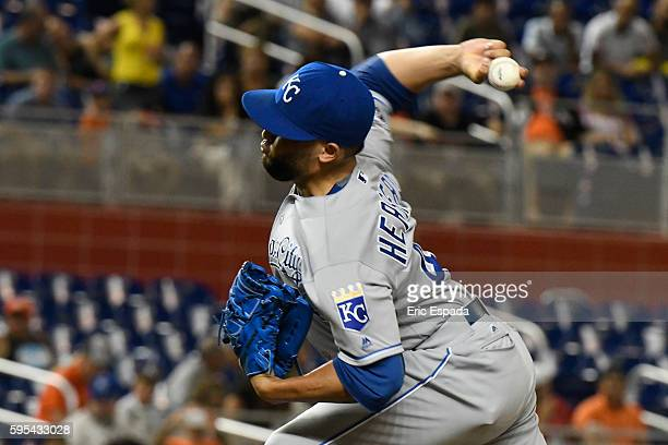 Kelvin Herrera of the Kansas City Royals throws a pitch in the 9th inning against the Miami Marlins at Marlins Park on August 25 2016 in Miami Florida