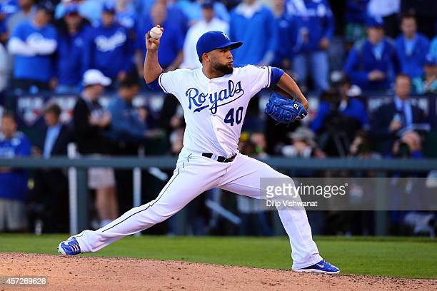 Kelvin Herrera of the Kansas City Royals throws a pitch in the sixth inning against the Baltimore Orioles during Game Four of the American League...