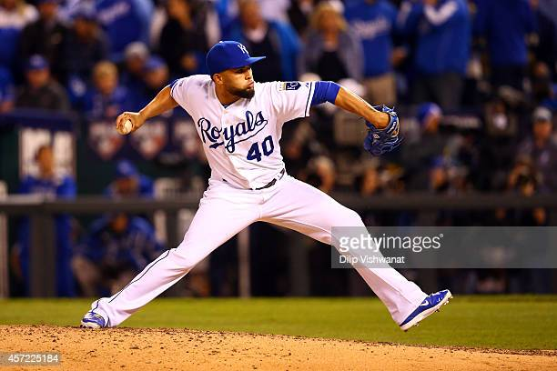 Kelvin Herrera of the Kansas City Royals throws a pitch in the seventh inning against the Baltimore Orioles during Game Three of the American League...