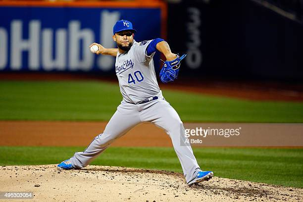 Kelvin Herrera of the Kansas City Royals throws a pitch in the seventh inning against the New York Mets during Game Five of the 2015 World Series at...