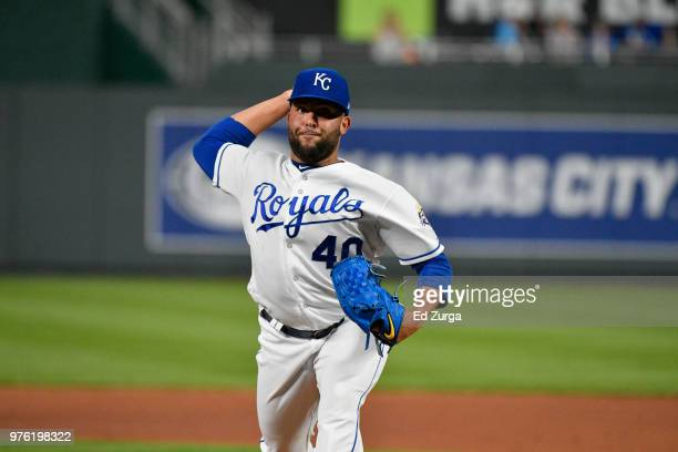 Kelvin Herrera of the Kansas City Royals throws against the Cincinnati Reds at Kauffman Stadium on June 12 2018 in Kansas City Missouri