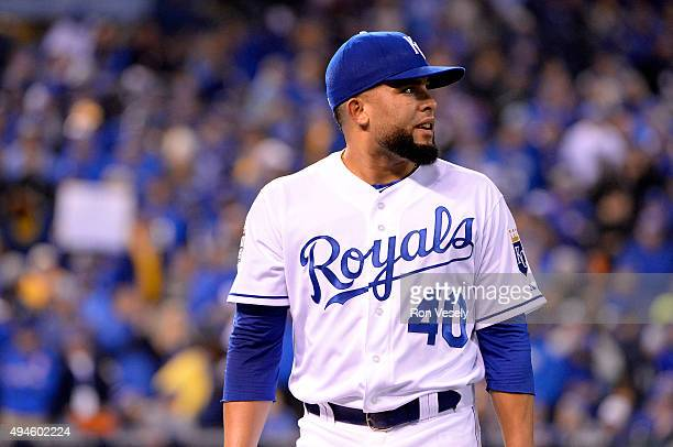 Kelvin Herrera of the Kansas City Royals walks back to the dugout during Game 1 of the 2015 World Series against the New York Mets at Kauffman...