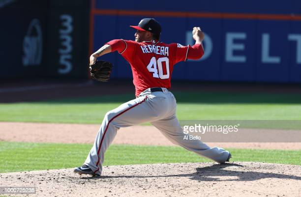 Kelvin Herrera of the Washington Nationals pitches against the New York Mets during their game at Citi Field on July 15 2018 in New York City