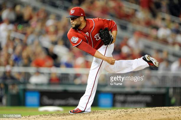 Kelvin Herrera of the Washington Nationals pitches against the Cincinnati Reds during game two of a doubleheader at Nationals Park on August 4 2018...