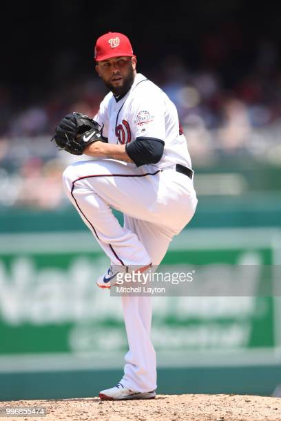 Kelvin Herrera of the Washington Nationals pitches during a baseball game against the Boston Red Sox at Nationals Park on July 4 2018 in Washington...