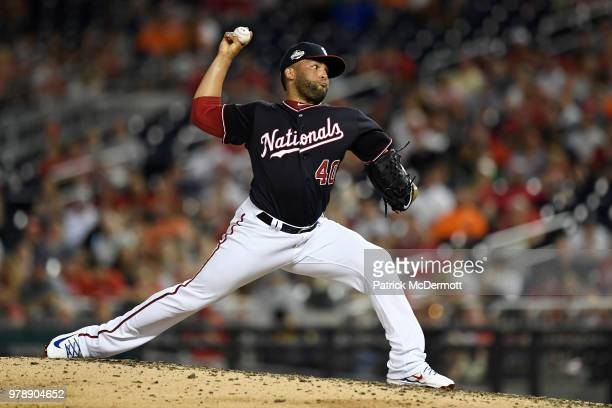 Kelvin Herrera of the Washington Nationals pitches in the eighth inning against the Baltimore Orioles at Nationals Park on June 19 2018 in Washington...