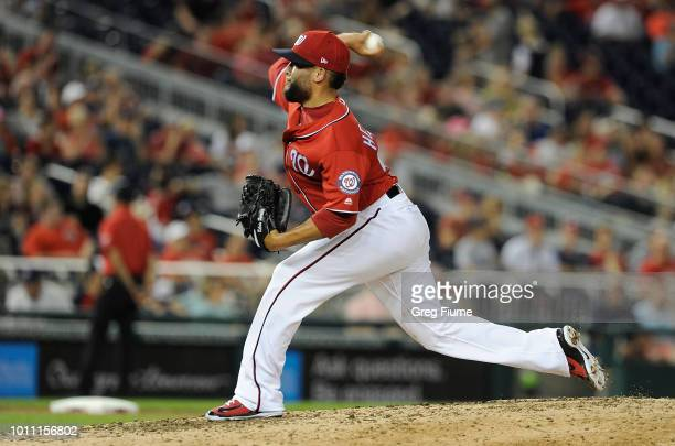 Kelvin Herrera of the Washington Nationals pitches in the ninth inning against the Cincinnati Reds during game two of a doubleheader at Nationals...