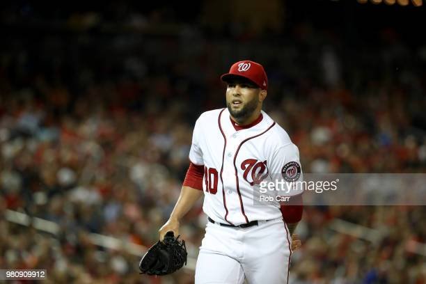 Kelvin Herrera of the Washington Nationals walks off the mound in the eighth inning against the Baltimore Orioles at Nationals Park on June 21 2018...