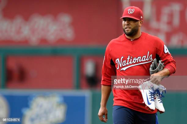 Kelvin Herrera of the Washington Nationals warms up before a game against the Baltimore Orioles at Nationals Park on June 19 2018 in Washington DC