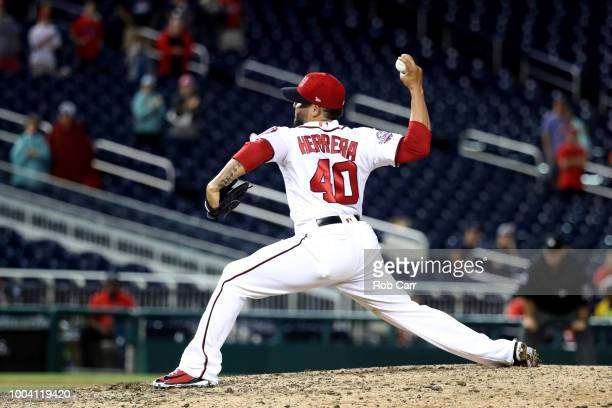 Kelvin Herrera the Washington Nationals pitches to an Atlanta Braves batter in the ninth inning at Nationals Park on July 22 2018 in Washington DC