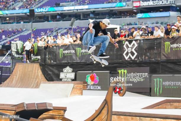 Kelvin Hoefler does a fliptrick Hoefler won a gold medal during the Skateboard Street Final at X Games Minneapolis on July 15 2017 at US Bank Stadium...