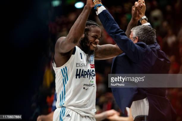 Kelvin Martin and Fernando Marino celebrate at the and of basketball game of LBA between A|X Armani Exchange Milano v Happy Casa Brindisi at...
