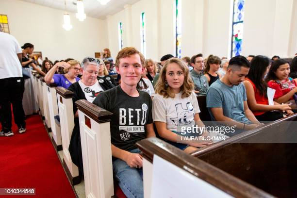 Kelvin Mote and Ashlynn Long, both college freshman at the University of Texas at Arlington, sit for a portrait prior to a campaign rally for US...