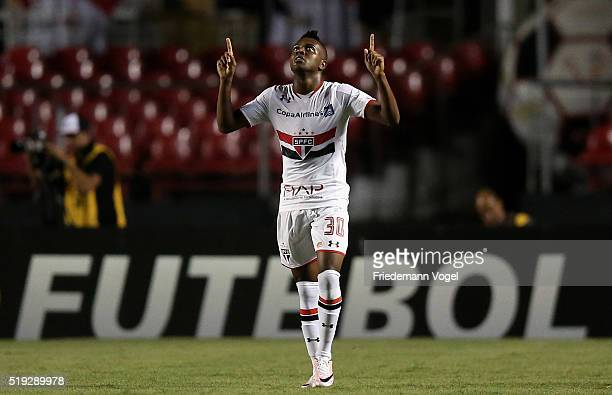 Kelvin of Sao Paulo celebrates scoring the second goal during a match between Sao Paulo v Trujillanos as part of Group 1 of Copa Bridgestone...