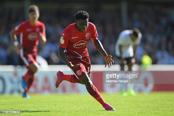 Kelvin Ofori of Fortuna Dusseldorf celebrates after scoring his team's second goal during the DFB Cup first round match between FC 08 Villingen and...