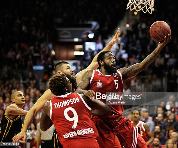 Kelvin Rivers of Bayern Muenchen scores on the lay up during the Basketball match between FC Bayern Muenchen and MHP RIESEN Ludwigsburg at the...
