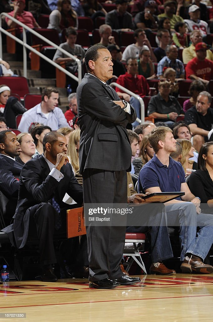Kelvin Sampson of the Houston Rockets watches the game against the Chicago Bulls on November 21, 2012 at the Toyota Center in Houston, Texas.