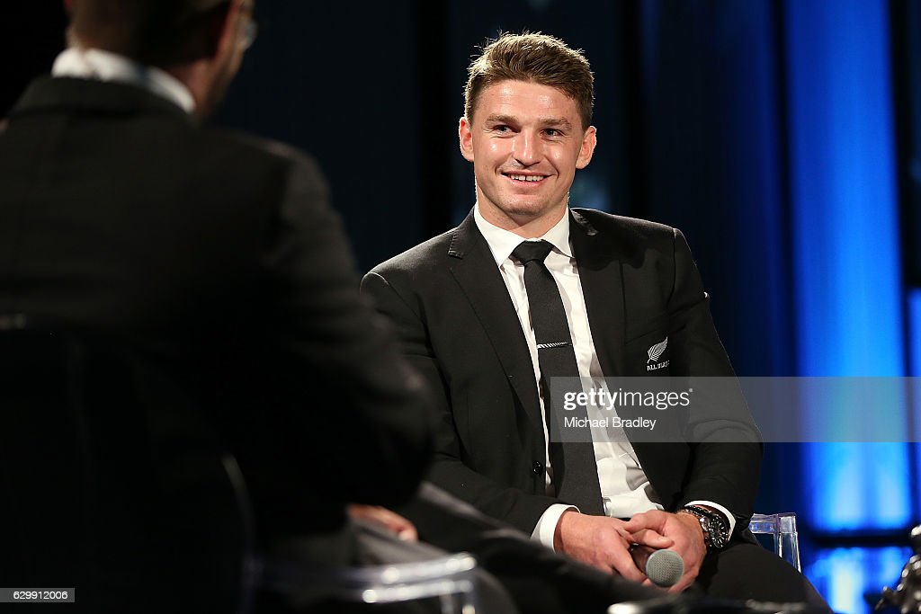 Kelvin Tremain Memorial Player of the Year Beauden Barrett at the ASB New Zealand Rugby Awards at SkyCity Convention Centre on December 15, 2016 in Auckland, New Zealand.