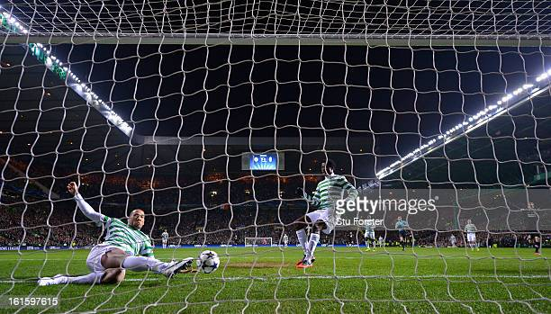 Kelvin Wilson of Celtic fails to keep out the first goal scored by Alessandro Matri of Juventus during the UEFA Champions League Round of 16 first...