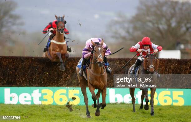 Kelvingrove and Killian Moore trail Silent Steps and Harry Cobden over the last fence before going on to win The Dave Criddle Travel Bristol Airport...