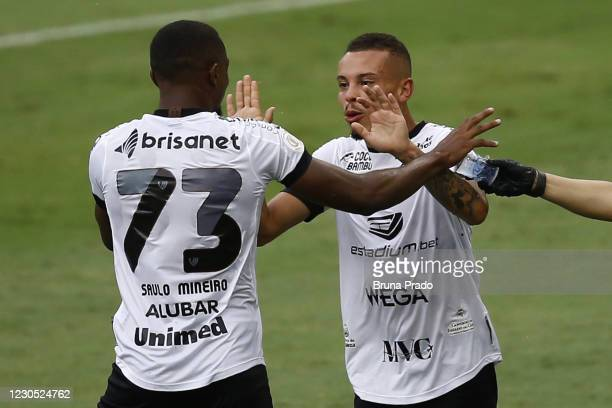 Kelvyn of Ceara celebrates with team mate Saulo Mineiro after scoring during the match between Flamengo and Ceara as part of the Brasileirao Series A...