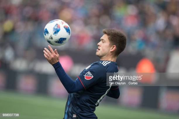 Kelyn Rowe of New England Revolution in action during the New England Revolution Vs New York City FC regular season MLS game at Gillette Stadium on...