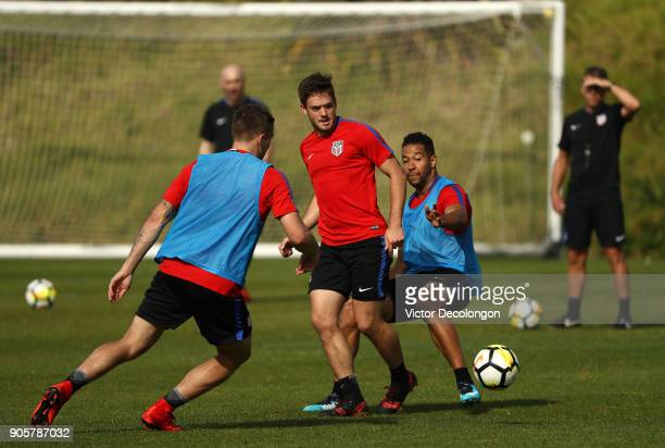Kelyn Rowe passes the ball during the US Men's National Soccer Team training session at StubHub Center on January 16 2018 in Carson California