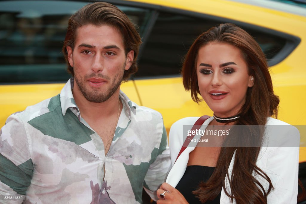 Kem Cetinay and Amber Davies arrive at the 'Logan Lucky' UK premiere held at Vue West End on August 21, 2017 in London, England.