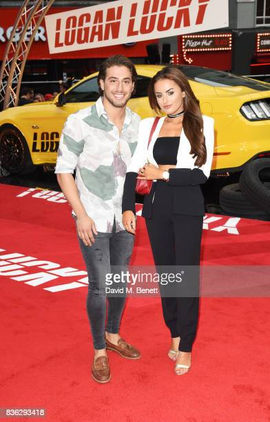 Kem Cetinay and Amber Davies attend the Logan Lucky UK Premiere at Vue West End on August 21 2017 in London England