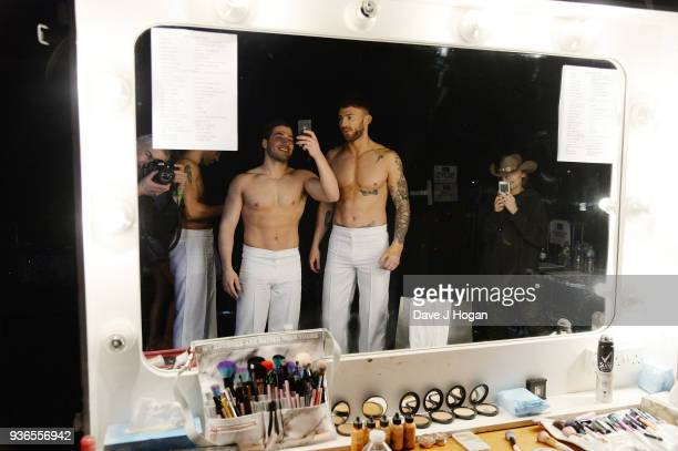 Kem Cetinay and Jake Quickenden attend the press launch photocall for the Dancing on Ice Live Tour at Wembley Arena on March 22 2018 in London...