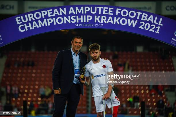 Kemal Gules of Turkey is seen in action against Igor Gamaonov of Spain during thei finals of Amp Futbol EURO 2021 in Krakow, Poland on September 19,...