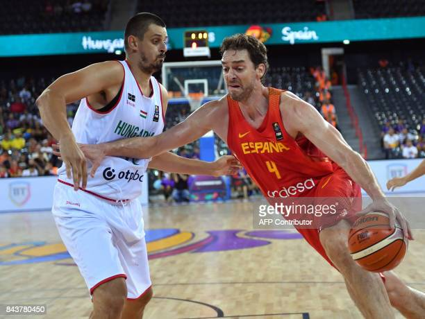 Kemal Karahodzic of Hungary vies with Pau Gasol of Spain during Group C of the FIBA Eurobasket 2017 mens basketball match between Hungary and Spain...