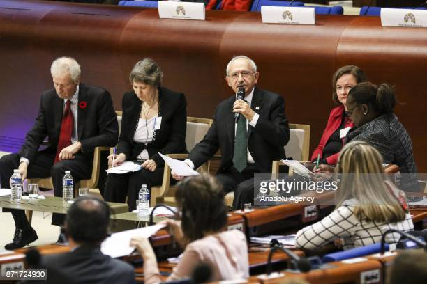 Kemal Kilicdaroglu head of the Republican People's Party speaks during the World Forum Democracy 2017 'Is populism a problem' of the Council of...