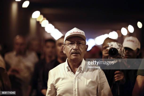 Kemal Kilicdaroglu leader of the Republican People's Party also known as CHP takes part in the 20th day of a 425kilometer march in Kocaeli Turkey on...