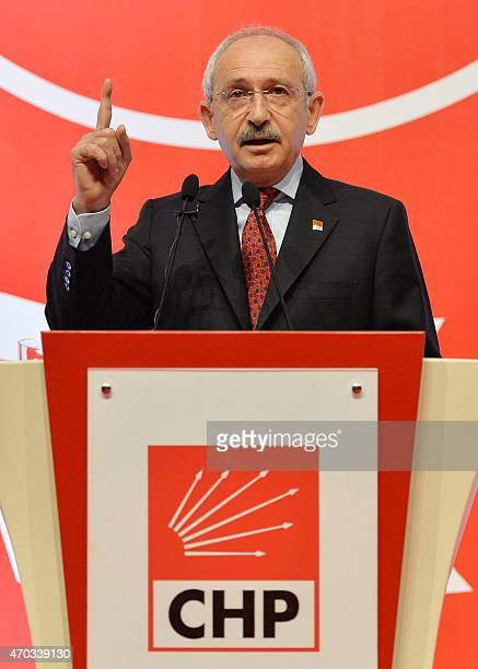 Kemal Kilicdaroglu the leader of Turkey's main opposition Republican People's Party gestures as he delivers a speech during a party event in Ankara...