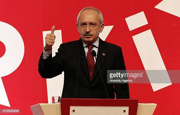 Kemal Kilicdaroglu Turkey's main opposition Republican Peoples Party leader delivers a speech during a party event in Ankara Turkey on April 19 2015...