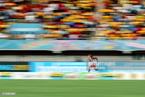 Kemar Hyman of the Cayman Islands competes during round one of the men's 4 x 200 metres on day two of the IAAF/BTC World Relays Bahamas 2015 at...