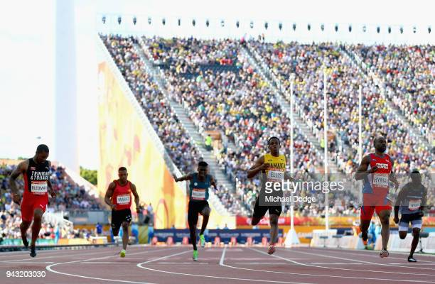 Kemar Hyman of the Cayman Islands wins his Men's 100 metres heat on day four of the Gold Coast 2018 Commonwealth Games at Carrara Stadium on April 8...