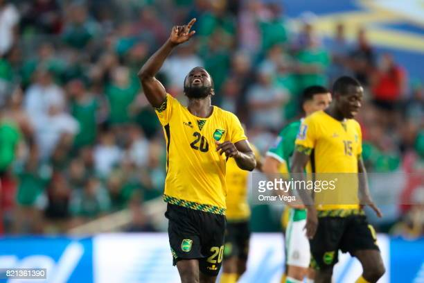 Kemar Lawrence of Jamaica celebrates after scoring the qualifying goal to the final during a match between Mexico and Jamaica as part of CONCACAF...