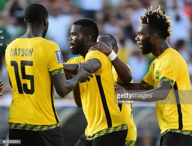 Kemar Lawrence of Jamaica celebrates his goal with JeVaughn Watson and Owayne Gordon to take a 10 lead over Mexico during the CONCACAF 2017 semifinal...